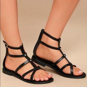 Rebels Florance Black Leather Gladiator Sandals